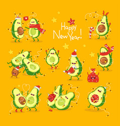 merry christmas and happy new year sticker set vector image