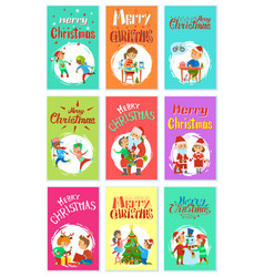 merry christmas wintertime activities kids playing vector image
