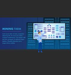 mining farm crypto currency analytics monitoring vector image
