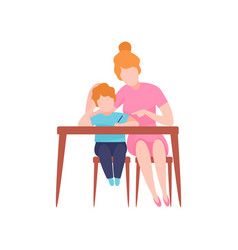 Mom and son sitting at desk young woman teaching vector