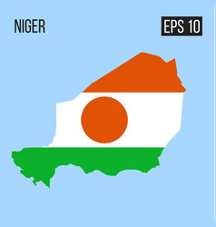 niger map border with flag eps10 vector image