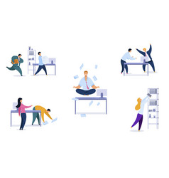 Office daily routine set vector