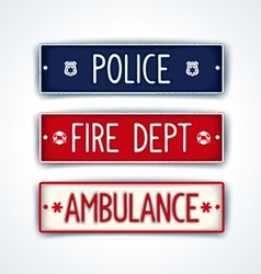 Police fire department ambulance car signs vector