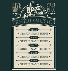 Poster for a jazz restaurant with retro music vector