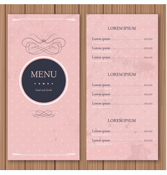 Restaurant or cafe menu design template vintage vector image vector image
