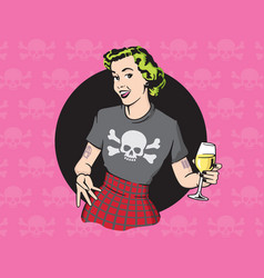 Retro style punk rock housewife design vector