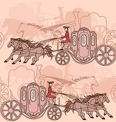 Seamless pattern of horse carriages vector image
