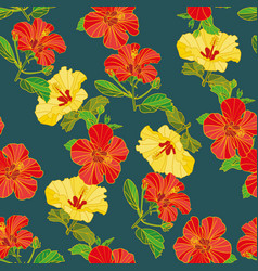 seamless pattern of painted flowers fabric vector image
