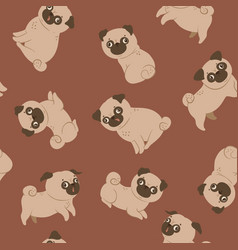 Seamless pattern with cute pugs on a red vector