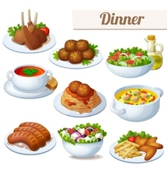 Set food icons isolated on white background vector