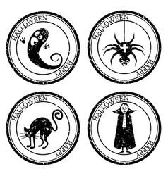 Set halloween stamp postal icon ghost spider cat vector