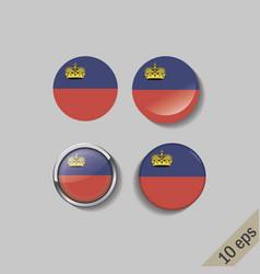 Set liechtenstein flags round badges vector