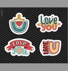 set of contemporary girlie love you letter logo vector image
