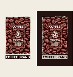 set of labels for coffee beans with barcode vector image