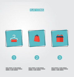 set of shopping icons flat style symbols with gift vector image