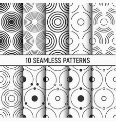 Set ten monochrome circles seamless patterns vector