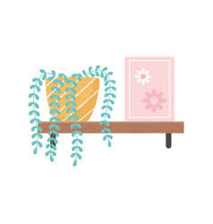 shelf with books and potted plant gardening vector image
