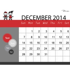 simple 2014 calendar december vector image