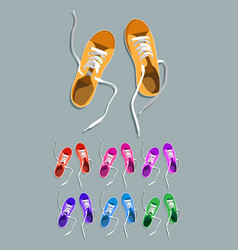 sneakers drawing set vector image