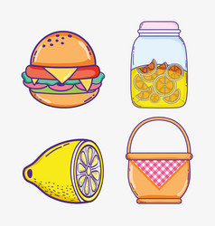 Summer food collection cartoons vector