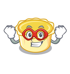 Super hero egg tart character cartoon vector