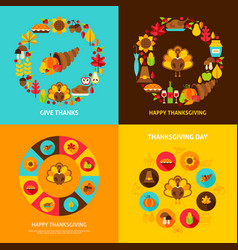 thanksgiving concept set vector image