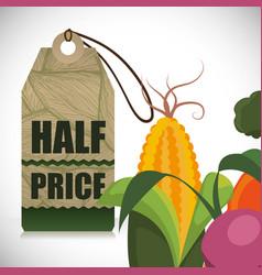 Vegetables half price offer shop vector