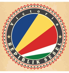 Vintage label cards of Seychelles flag vector image