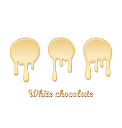 white chocolate drip splash set chocolate liquid vector image