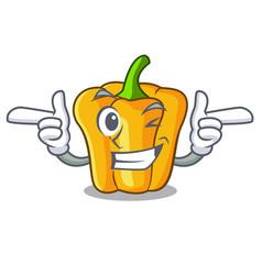 Wink cartoon fresh yellow peppers in the market vector