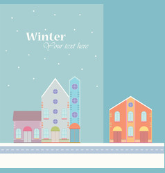 Winter backgroundhouse buildings home street vector