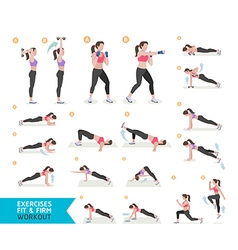 Woman workout fitness aerobic and exercises vector