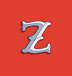 Z letter logo in classic sport team style vector