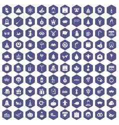 100 holidays icons hexagon purple vector image