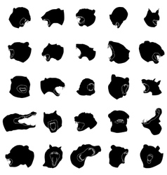 Animal jaws silhouettes set vector image