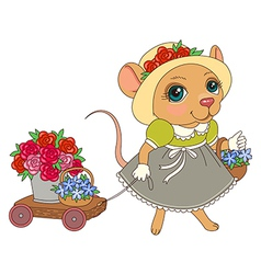 cartoon mouse flowers vector image