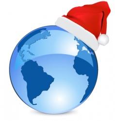 Christmas blue earth vector image vector image