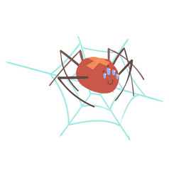 cute cartoon spider character in a web vector image vector image