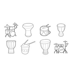 drums icon set outline style vector image