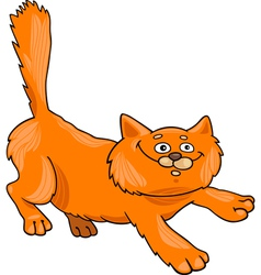 fluffy red cat vector image vector image