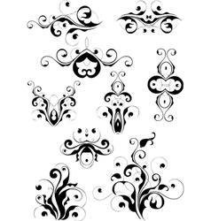 set of floral designs vector image vector image