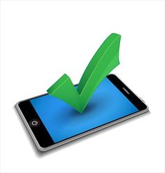 Smartphone with checkmark vector image vector image