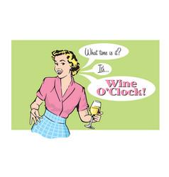 retro pretty woman with wine vector image