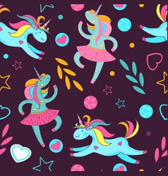 seamless pattern of cute cartoon unicorns stars vector image