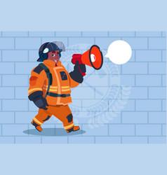 african american fireman speaking in megaphone vector image vector image