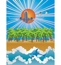 Airplane over Tropic Island vector image vector image