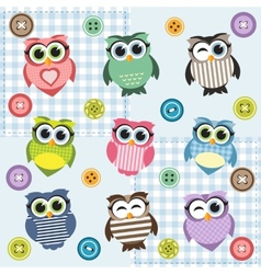 Background with nine textured owls vector image vector image