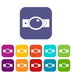Belt with oval shaped buckle icons set flat vector