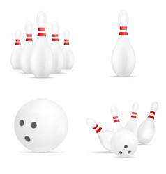 bowling kegling mockup set realistic style vector image