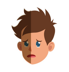character face head boy cry vector image